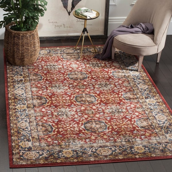 Safavieh Bijar Traditional Oriental Red/ Royal Blue Distressed Rug - 9' x 12'