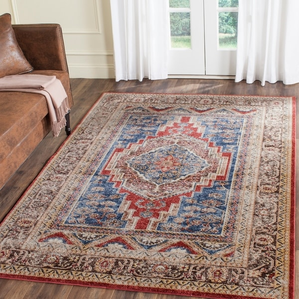 Safavieh Bijar Traditional Oriental Royal Blue/ Brown Distressed Rug - 8' x 10'
