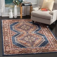 Safavieh Bijar Traditional Oriental Royal Blue/ Rust Distressed Rug - 9' x 12'