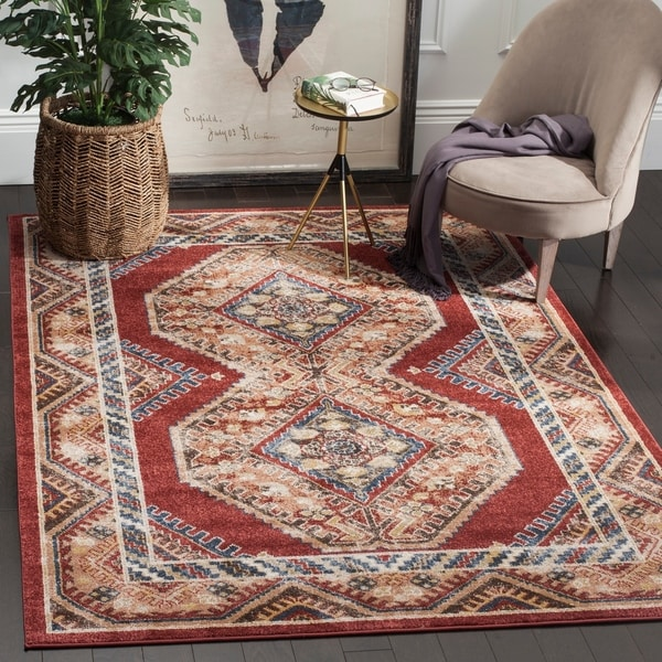 Safavieh Bijar Traditional Oriental Red/ Rust Distressed Rug - 9' x 12'