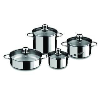 Black Stainless Steel 8-piece Cooking Pot Set
