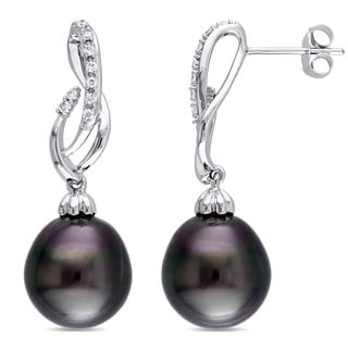 Miadora Signature Collection 14k White Gold Tahitian Pearl and 1/6ct TDW Diamond Ribbon Drop Earrings (G-H, SI1-SI2)(11-11.5 mm)