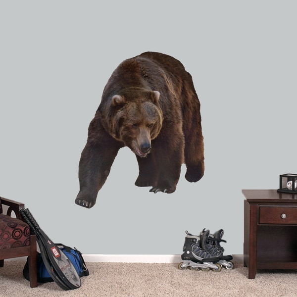 Shop Real Life Grizzly Bear Printed Wall Decal Overstock