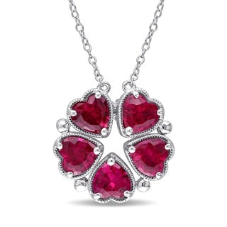 Miadora Sterling Silver Created Ruby Flower Heart Necklace
