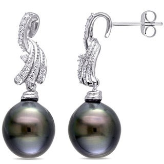 Miadora Signature Collection 14k White Gold Tahitian Black Pearl and 1/4ct TDW Diamond Drop Swirl Earrings (G-H, SI1-SI2)
