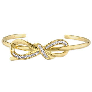 Miadora 18k Yellow Gold Plated Sterling Silver White Sapphire Infinity Cuff Bracelet