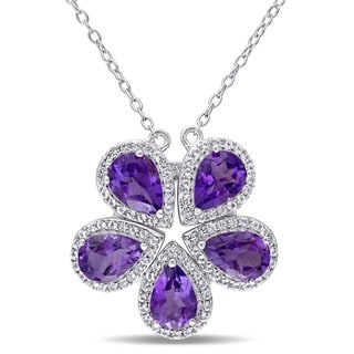 Miadora Sterling Silver Pear-cut African Amethyst and White Topaz Flower Necklace