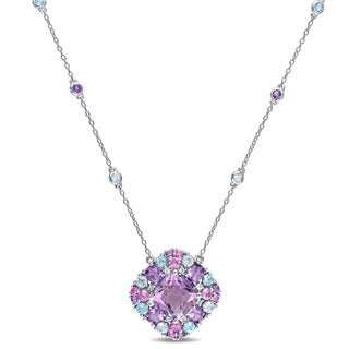 Miadora Sterling Silver Cushion-cut Amethyst Created Pink Sapphire Sky and Swiss Blue Topaz Halo Sta