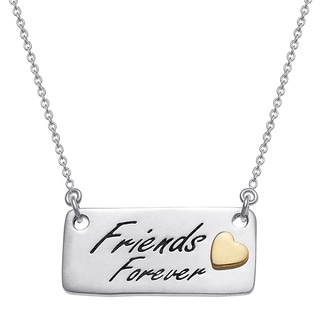 Sterling Silver Friends Forever Bar Pendant