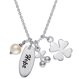 Sterling Silver Freshwater Pearl Four-leaf Clover Hope Pendant