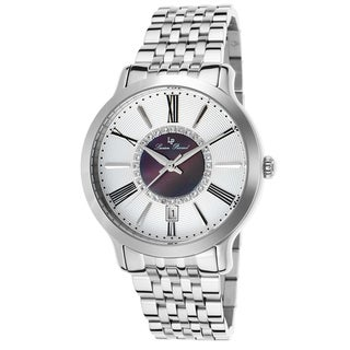 Lucien Piccard Sofia Stainless Steel Silver-Tone and Black Mother of Pearl Watch