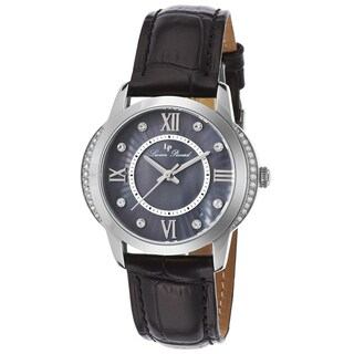 Lucien Piccard Dalida Black Genuine Leather and Mother of Pearl Dial Watch