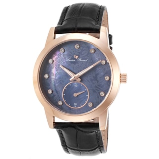 Lucien Piccard Noureddine Black Genuine Leather and Mother of Pearl Watch