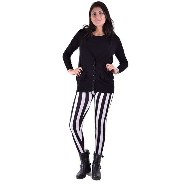 Women's Jailbird Black-and-White Stripe Leggings With Black Cardigan 2-piece Set
