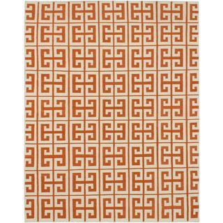 eCarpetGallery Kerala Beige and Orange Handmade Wool Kilim (8' x 10')
