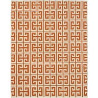 eCarpetGallery Kerala Beige and Orange Handmade Wool Kilim Rug - 8' x 10'