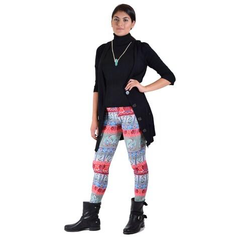 Women's Multicolor Leggings With Black Cardigan 2-piece Set