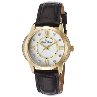 Lucien Piccard Dalida Black Genuine Leather White Mother of Pearl Dial Watch