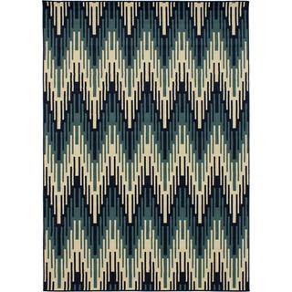 eCarpetGallery Beaufort Beige/Blue Polypropylene Rug (7'10 x 10'10)