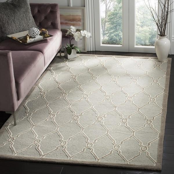 Safavieh Handmade Cambridge Light Grey/ Ivory Wool Rug (9' x 12')