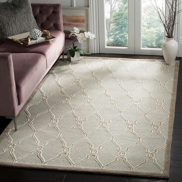Safavieh Handmade Cambridge Light Grey/ Ivory Wool Rug - 9' x 12'