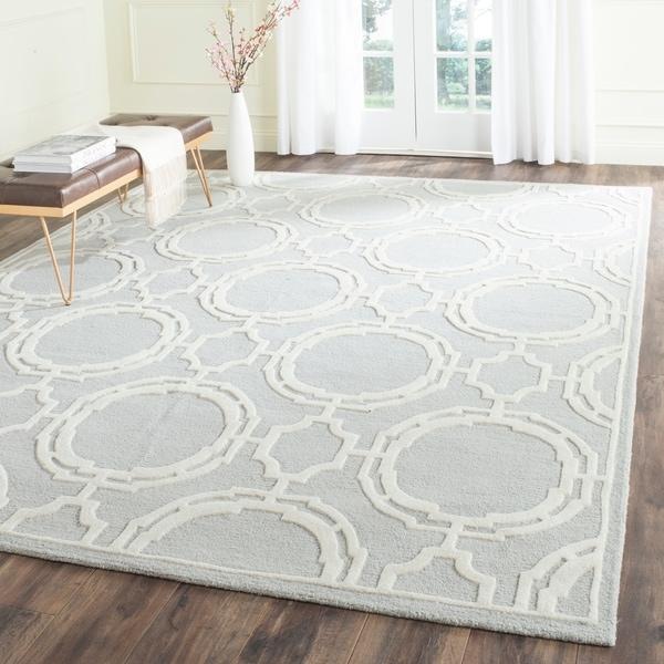 Safavieh Handmade Cambridge Grey/ Ivory Wool Rug - 8' x 10'