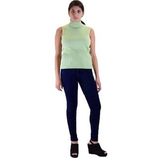 Skinny Fit French Terry Jegging and Sleeveless Turtle Neck Sweater 2-piece Outfit