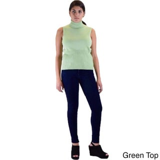 Skinny Fit French Terry Jegging and Sleeveless Turtle Neck Sweater 2-piece Outfit (More options available)