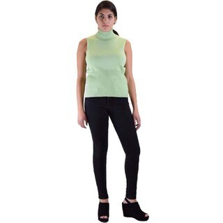 Women's Skinny Pants and Sleeveless Turtle Neck Sweater 2-piece Outfit (Option: Pink)