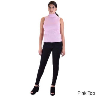 Women's Skinny Pants and Sleeveless Turtle Neck Sweater 2-piece Outfit (3 options available)