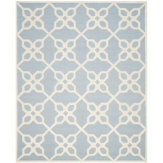 Safavieh Handmade Cambridge Barbra Modern Wool Rug (8' x 10' - Blue/Ivory)