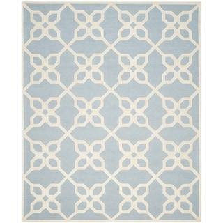 Safavieh Handmade Cambridge Barbra Modern Wool Rug (8 x 10 - Blue/Ivory)