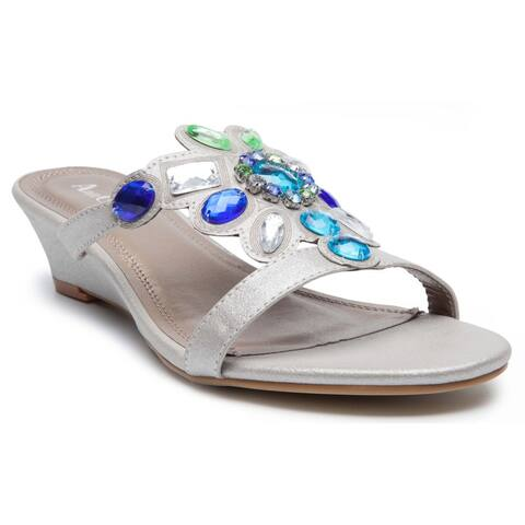 Women's 'Ralph' Gemstone Metallic Wedge Sandals