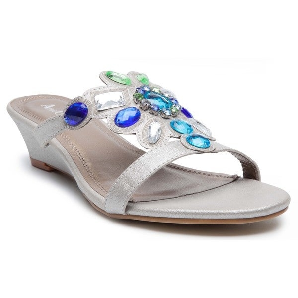 Women's 'Ralph' Gemstone Metallic Wedge Sandals