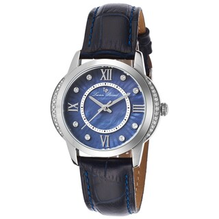 Lucien Piccard Dalida Black Genuine Leather Blue Mother of Pearl Dial Watch