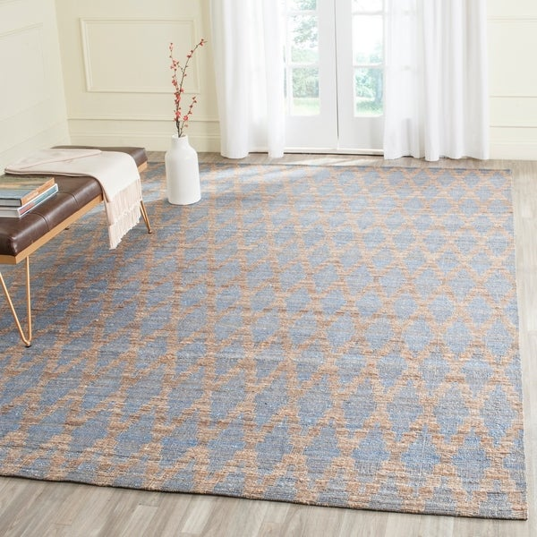 Blue Outdoor Rug 9x12: Shop Safavieh Cape Cod Handmade Light Blue / Gold Jute