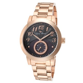 Lucien Piccard Garda Rose-Tone Stainless Steel Black and Black Mother of Pearl Watch