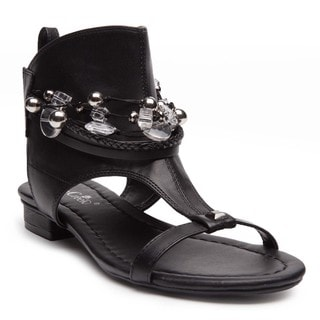 Ann Creek Women's'Elwood' Black/White Faux-leather Festival Sandals