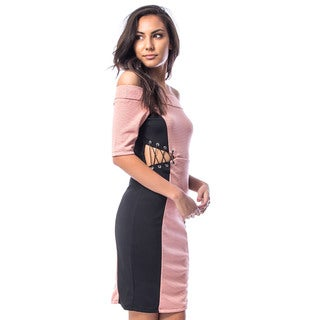 JED Women's Pink Polyester Cut-out Off-shoulder Bodycon Mini Party Dress