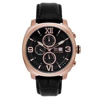 Tommy Hilfiger Men's Black Leather and Goldtone Japanese Quartz Watch