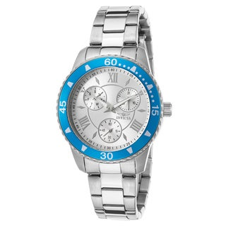 Invicta Women's Angel Stainless Steel Silver-Tone Dial Blue IP Steel Bezel Watch