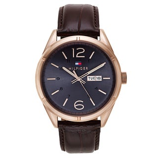 Tommy Hilfiger Men's Brown Leather and Goldtone Japanese Quartz Watch