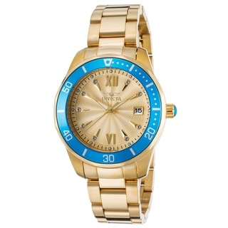 Invicta Women's Pro Diver 18K Gold Plated Blue Bezel Watch