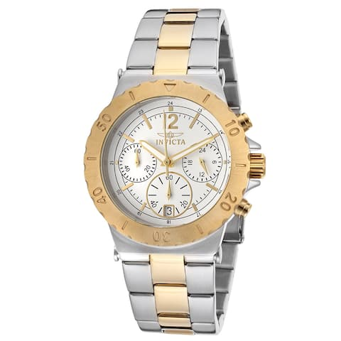 Invicta Women'S Specialty Chrono Two-Tone Gold Plated White Dial Watch