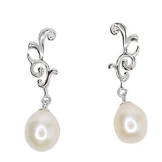 Kabella Sterling Silver Freshwater Pearl Filigree Dangling Earrings (8mm)