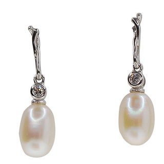 Kabella Sterling Silver Freshwater Pearl and Cubic Zirconia Twist Dangle Earrings (6-6.5mm)