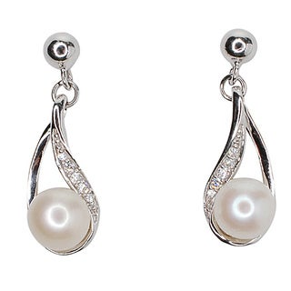 Kabella Sterling Silver Freshwater Pearl with Cubic Zirconia Dangle Earrings (6.5-7mm)