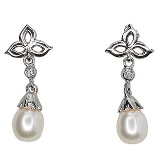 Kabella Sterling Silver Freshwater Pearl and Cubic Zirconia Dangle Earrings (5-6mm)
