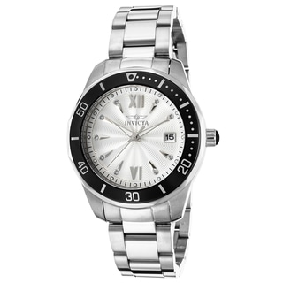 Invicta Women's Pro Diver Stainless Steel Silver-Tone Dial Black Bezel Watch