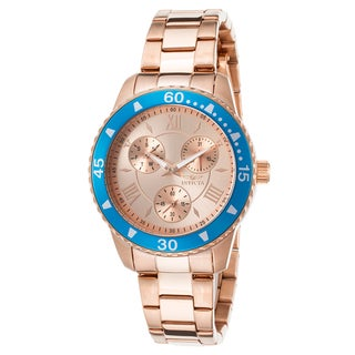 Invicta Women's Angel Rose 18K Gold Plated Steel Rose-Tone Dial Watch